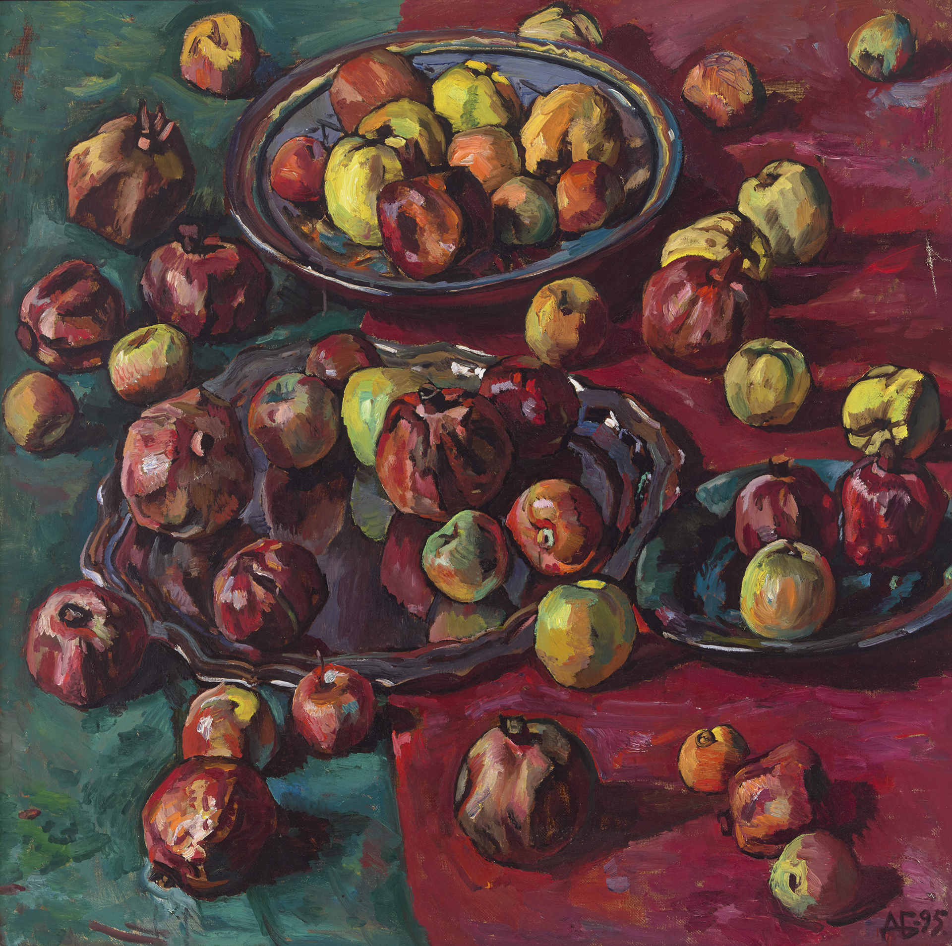 Fruit on Red and Green
