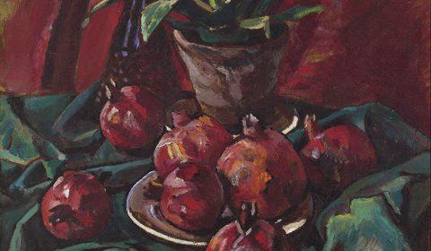 Pomegranates on Green