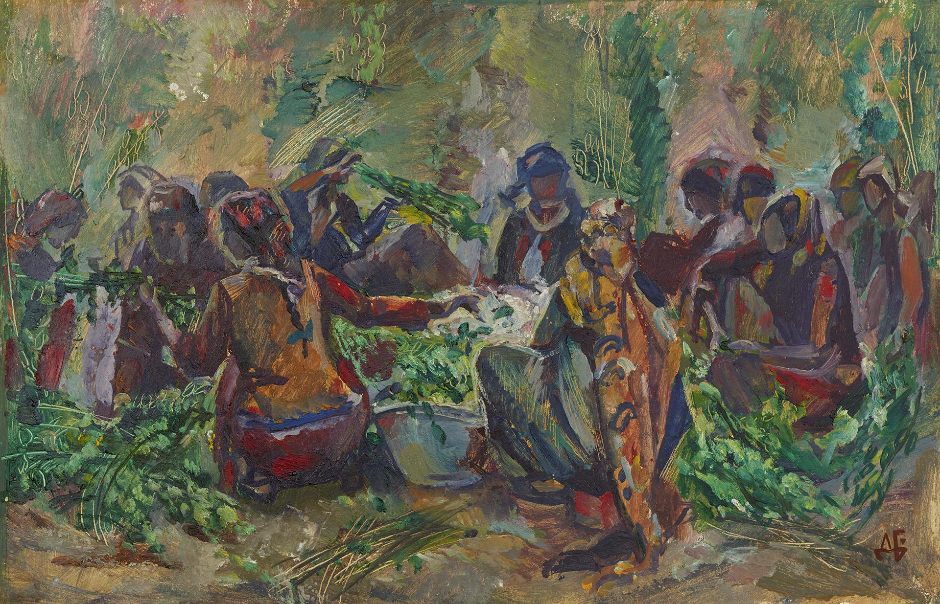 """Preparatory Sketch for Painting """"Silkworm Breeders"""""""