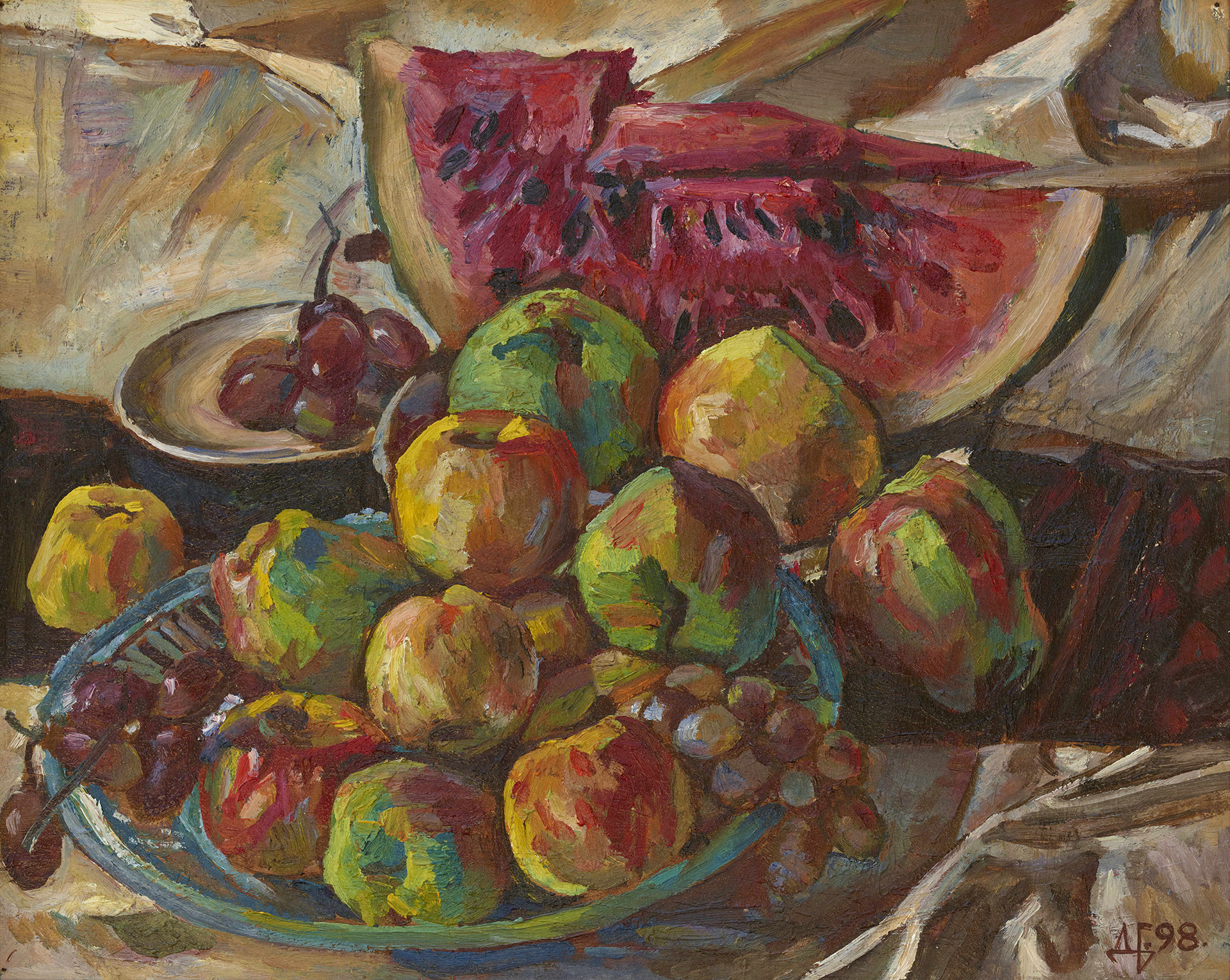 Watermelon, Grapes and Apples